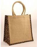 Medium Jute Shopping Bag with Leopard Print Sides